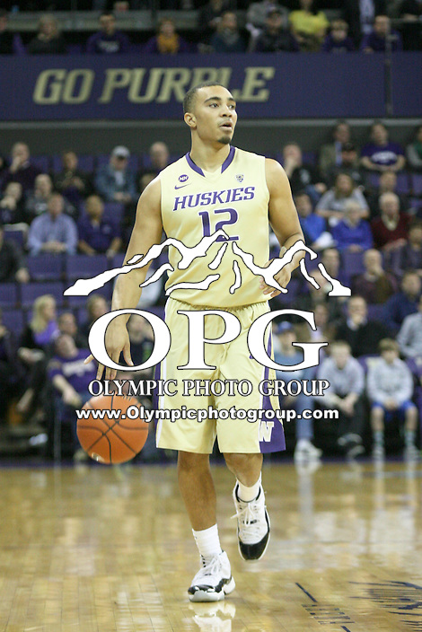 February 12, 2014:   Washington's Andrew Andrews against Stanford.  Washington defeated Stanford 64-60 at Alaska Airlines Arena in Seattle, Washington.