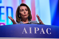 Washington, DC - March 26, 2019: Speaker of the House Nancy Pelosi addresses attendees of the 2019 AIPAC Policy Conference held at the Washington Convention Center, March 26, 2019.  (Photo by Don Baxter/Media Images International)