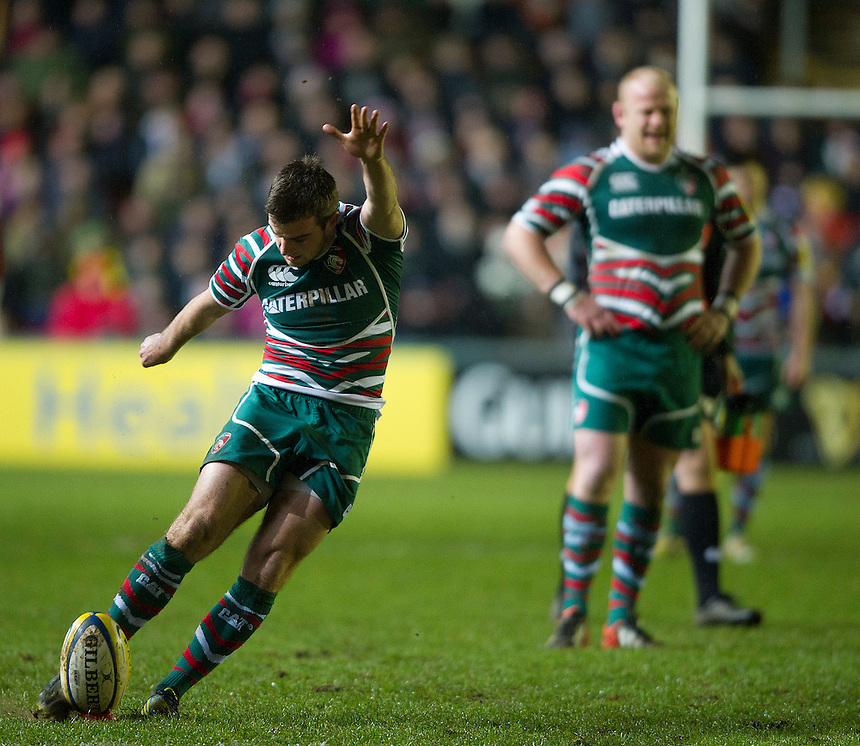 Leicester Tigers's George Ford converts one out of is three penalties during the first half..Rugby Union - Aviva Premiership - Leicester Tigers v Gloucester - Saturday 29th December 2012 - Welford Road - Leicester....
