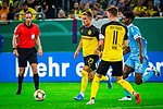 09.08.2019, Merkur Spiel-Arena, Düsseldorf, GER, DFB Pokal, 1. Hauptrunde, KFC Uerdingen vs Borussia Dortmund , DFB REGULATIONS PROHIBIT ANY USE OF PHOTOGRAPHS AS IMAGE SEQUENCES AND/OR QUASI-VIDEO<br /> <br /> im Bild | picture shows:<br /> Thorgan Hazard (Borussia Dortmund #23) am Ball,<br /> <br /> Foto © nordphoto / Rauch