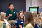 August 18, 2018; Justin McManus speaks to his Moreau First Year Experience class. (Photo by Matt Cashore/University of Notre Dame)