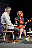 Pictured: Kate Humble (R) speaks with Dylan Moore. Friday 31 May 2019<br /> Re: Hay Festival, Hay on Wye, Wales, UK.