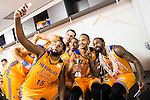 Herbalife Gran Canaria's player Royce O'Neale, Pablo Aguilar, Darko Planinic Eulis Baez and Bo McCalebb taking a selfie during the final of Supercopa of Liga Endesa Madrid. September 24, Spain. 2016. (ALTERPHOTOS/BorjaB.Hojas)