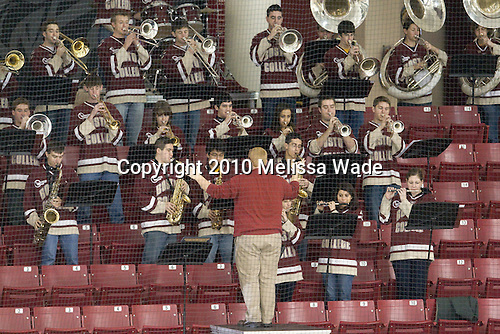 The BC band attended the game and received their own stick salute from the team afterwards. - The Boston College Eagles defeated the visiting Harvard University Crimson 6-2 on Sunday, December 5, 2010, at Conte Forum in Chestnut Hill, Massachusetts.