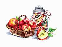 Apples in basket and jar
