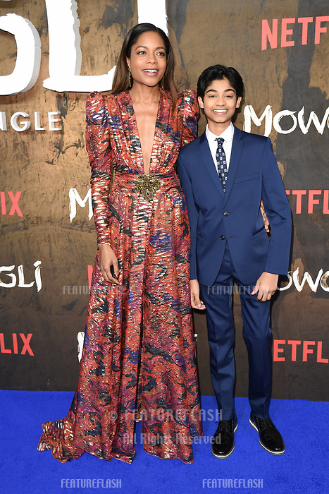 LONDON, UK. December 04, 2018: Naomie Harris &amp; Rohand Chand at the&quot;Mowgli: Legend of the Jungle&quot; premiere at the Curzon Mayfair, London.<br /> Picture: Steve Vas/Featureflash
