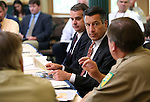 Nevada Gov. Brian Sandoval gets briefed by state fire officials during a press conference at the Capitol in Carson City, Nev., on Monday, May 4, 2015.<br /> Photo by Cathleen Allison