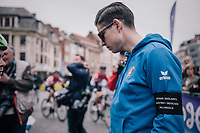 At the start in Leuven, Wout Van Aert (BEL/V&eacute;randas Willems-Crelan), who is not racing, &amp; his teammates line up to honour their teammate Michael Goolaerts (BEL), who died of a cardiac arrest just days earlier during Paris-Roubaix.<br /> All teammates ride with an armband with Goolaerts' name on it.<br /> For the rest of the season , the team will be riding #ALL4GOOLIE to honour and remember him.<br /> <br /> 58th De Brabantse Pijl 2018 (1.HC)<br /> 1 Day Race: Leuven - Overijse (BEL/202km)