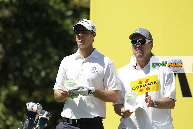 Nicolas Colsaerts (BEL) and caddy Brian wait to tee off the par3 8th tee during Thursday's Round 1 of the 2014 Open de Espana held at the PGA Catalunya Resort, Girona, Spain. Wednesday 15th May 2014.<br /> Picture: Eoin Clarke www.golffile.ie