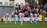 Asa Hall of Cheltenham (far left) celebrates scoring his side's first goal during the Sky Bet League 2 match between Newport County and Cheltenham Town at Rodney Parade, Newport, Wales on 10 September 2016. Photo by Mark  Hawkins / PRiME Media Images.