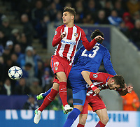 Atletico Madrid's Lucas Hernandez beats Leicester City's Leonardo Ulloa to the ball<br /> <br /> Photographer Stephen White/CameraSport<br /> <br /> UEFA Champions League Quarter Final Second Leg - Leicester City v Atletico Madrid - Tuesday 18th April 2017 - King Power Stadium - Leicester <br />  <br /> World Copyright &copy; 2017 CameraSport. All rights reserved. 43 Linden Ave. Countesthorpe. Leicester. England. LE8 5PG - Tel: +44 (0) 116 277 4147 - admin@camerasport.com - www.camerasport.com