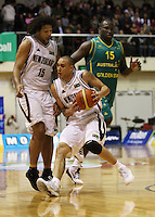 Tall Blacks guard Lindsay Tait collides with BJ Anthony during the International basketball match between the NZ Tall Blacks and Australian Boomers at TSB Bank Arena, Wellington, New Zealand on 25 August 2009. Photo: Dave Lintott / lintottphoto.co.nz