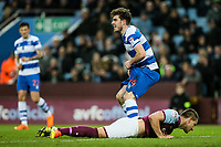 Queens Park Rangers' Ryan Manning loses his shorts celebrating his side's first goal as Aston Villa's John Terry looks on<br /> <br /> Photographer Andrew Kearns/CameraSport<br /> <br /> The EFL Sky Bet Championship -  Aston Villa v Queens Park Rangers - Tuesday 13th March 2018 - Villa Park - Birmingham<br /> <br /> World Copyright &copy; 2018 CameraSport. All rights reserved. 43 Linden Ave. Countesthorpe. Leicester. England. LE8 5PG - Tel: +44 (0) 116 277 4147 - admin@camerasport.com - www.camerasport.com