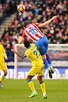 Atletico de Madrid Sime Vrsaljko and UD Las Palmas Jonathan Viera during La Liga match between Atletico de Madrid and UD Las Palmas at Vicente Calderon Stadium in Madrid, Spain. December 17, 2016. (ALTERPHOTOS/BorjaB.Hojas)