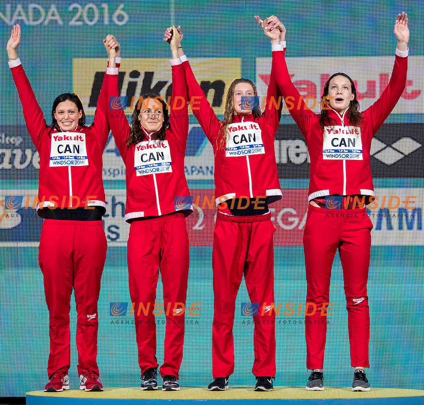 Canada CAN Gold Medal <br /> WILLIAMS Michelle MAINVILLE Sandrine RUCK Taylor <br /> OLEKSIAK Penny<br /> Women's 4x50m Freestyle<br /> 13th Fina World Swimming Championships 25m <br /> Windsor  Dec. 11th, 2016 - Day06 Finals<br /> WFCU Centre - Windsor Ontario Canada CAN <br /> 20161211 WFCU Centre - Windsor Ontario Canada CAN <br /> Photo &copy; Giorgio Scala/Deepbluemedia/Insidefoto