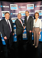 08/02/'11 Fianna Fail leader Micheál Martin and Labour leader, Eamon Gilmore pictured with Vincent Brown and Ursulla Halligan this evening at TV3, Ballymount Dublin where they participated in the first televised leader's debate of Election 2011...Picture Colin Keegan, Collins, Dublin.