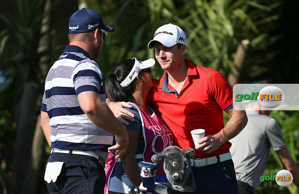 Big hug for &quot;Pooh&quot; from Garth Mulroy (RSA) as mer/ begins Round One of the 2016 Tshwane Open, played at the Pretoria Country Club, Waterkloof, Pretoria, South Africa.  11/02/2016. Picture: Golffile | David Lloyd<br /> <br /> All photos usage must carry mandatory copyright credit (&copy; Golffile | David Lloyd)