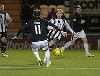 Gary irvine closing down Mark Kerr in the St Mirren v Falkirk Scottish Professional Football League Ladbrokes Championship match played at the Paisley 2021 Stadium, Paisley on 1.3.16.