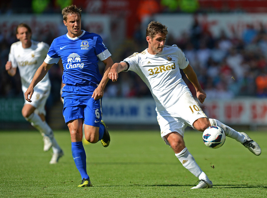 Swansea City's Danny Graham has a shot at goal ..Football - Barclays Premiership - Swansea City v Everton - Saturday 22nd September 2012 - Liberty Stadium - Swansea..