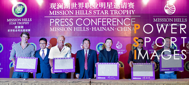 HAIKOU, CHINA - OCTOBER 27:  (L-R) Multiple Olympic gold medalist Michael Phelps of USA, golf legend Greg Norman of Australia, Dr. Ken Chu, Vice Chairman of Mission Hills Group, Zhu Hang Song, leading Chinese film director Feng Xiaogang, famous Chinese actor Chan Dao Ming and Hollywood super star actor Christian Slater of USA attend the opening  press conference of the Mission Hills Star Trophy on October 27, 2010 in Haikou, China. The Mission Hills Star Trophy is Asia's leading leisure liflestyle event and features Hollywood celebrities and international golf stars. Photo by Victor Fraile / The Power of Sport Images