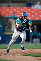 Lynchburg Hillcats pinch hitter Jorma Rodriguez (9) runs to first base during the first game of a doubleheader against the Frederick Keys on June 12, 2018 at Nymeo Field at Harry Grove Stadium in Frederick, Maryland.  Frederick defeated Lynchburg 2-1.  (Mike Janes/Four Seam Images)