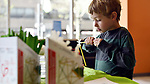August Clayton, 5, builds a geodesic dome, a shape popularized by innovator Richard Buckminster Fuller. At Innovations center in University City a hands on introduction is given to innovative scientist.