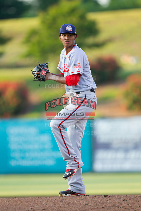 Hagerstown Suns starting pitcher Jefry Rodriguez (21) in action against the Kannapolis Intimidators at CMC-Northeast Stadium on May 31, 2014 in Kannapolis, North Carolina.  The Intimidators defeated the Suns 4-3 in game two of a double-header.  (Brian Westerholt/Four Seam Images)