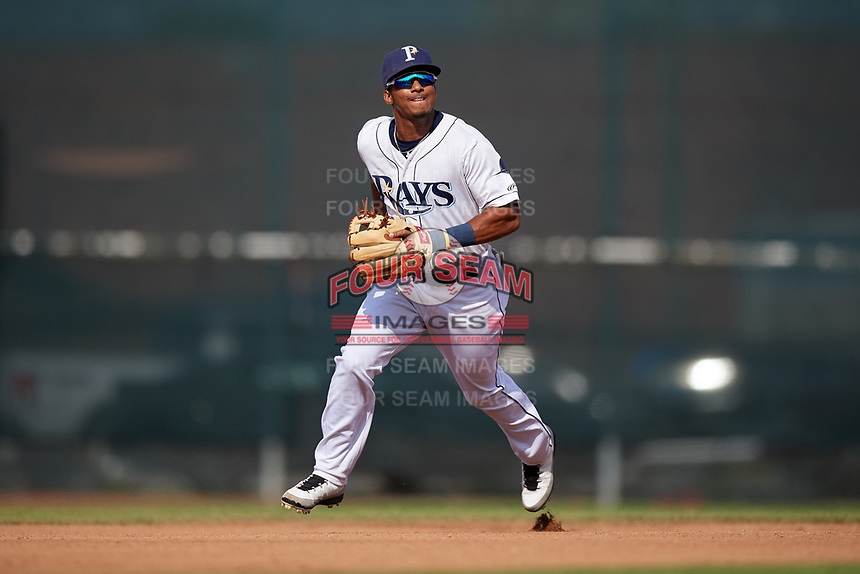 Princeton Rays shortstop Wander Franco (6) during the first game of a doubleheader against the Johnson City Cardinals on August 17, 2018 at Hunnicutt Field in Princeton, Virginia.  Johnson City defeated Princeton 6-4.  (Mike Janes/Four Seam Images)