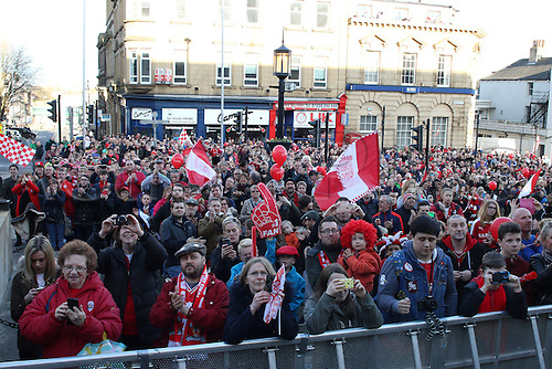 07.04.2016. Barnsley, England. Barnsley FC Johnstones Paint Trophy winners celebrations and parade. A sea of Barnsley fans line the streets outside the town hall