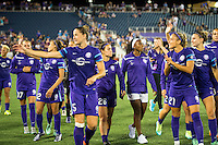 Orlando, Florida - Saturday, April 23, 2016: Orlando Pride take a victory lap to salute their fans after a 3-1 victory during an NWSL match between Orlando Pride and Houston Dash at the Orlando Citrus Bowl.