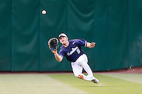 North Carolina Tar Heels outfielder Chaz Frank #2 makes a diving catch in the outfield during the NCAA baseball game against the Rice Owls on March 1st, 2013 at Minute Maid Park in Houston, Texas. North Carolina defeated Rice 2-1. (Andrew Woolley/Four Seam Images).