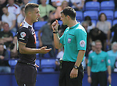 Bolton v Derby. SkyBet Championship. 8/8/15 <br /> <br /> Derby's SkyBet fund signing, Jason Shackell spoken to by ref Andrew Madley.<br /> <br /> Credit: PHSP/Harry McGuire