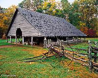 Cantilever design barn, Pioneer Homestead, Oconaluftee Visitor Center, Great Smoky Mountains National Park, North Carolina.