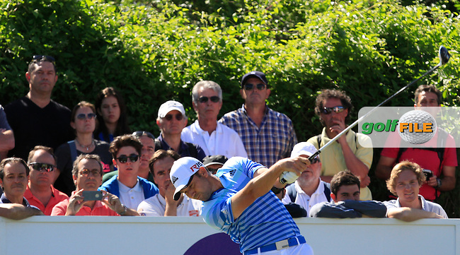 Sergio Garcia (ESP) on the 9th tee during Round 3 of the Open de Espana  in Club de Golf el Prat, Barcelona on Saturday 16th May 2015.<br /> Picture:  Thos Caffrey / www.golffile.ie