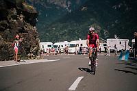 Christophe Laporte (FRA/Cofidis) up the final climb of the day (in Spain!): the Col du Portillon (Cat1/1292m)<br /> <br /> Stage 16: Carcassonne &gt; Bagn&egrave;res-de-Luchon (218km)<br /> <br /> 105th Tour de France 2018<br /> &copy;kramon