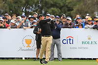 C.T. Pan (International) on the 10th tee during the First Round - Four Ball of the Presidents Cup 2019, Royal Melbourne Golf Club, Melbourne, Victoria, Australia. 12/12/2019.<br /> Picture Thos Caffrey / Golffile.ie<br /> <br /> All photo usage must carry mandatory copyright credit (© Golffile | Thos Caffrey)