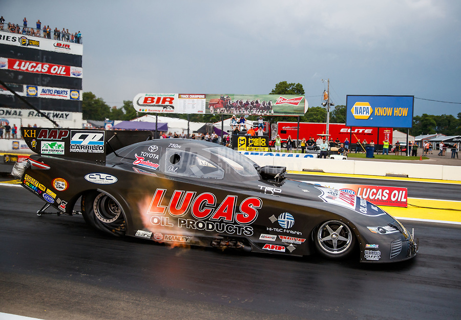 Aug 18, 2017; Brainerd, MN, USA; NHRA funny car driver Del Worsham during qualifying for the Lucas Oil Nationals at Brainerd International Raceway. Mandatory Credit: Mark J. Rebilas-USA TODAY Sports