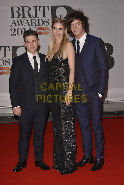 LONDON, ENGLAND - FEBRUARY 19: Dan Rothman, Hannah Reid and Dominic 'Dot' Major of London Grammar attends The BRIT Awards 2014 at 02 Arena on February 19, 2014 in London, England.<br /> CAP/PL<br /> &copy;Phil Loftus/Capital Pictures