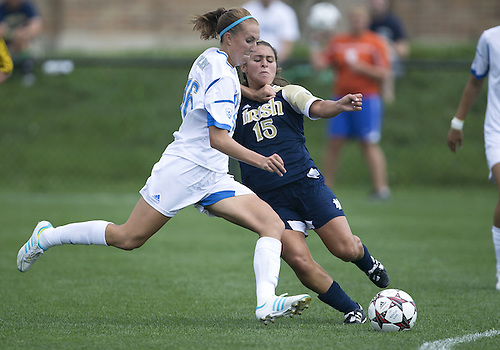 September 01, 2013:  UCLA midfielder Sarah Killion (16) and Notre Dame midfielder Karin Simonian (15) battle for the ball during NCAA Soccer match between the Notre Dame Fighting Irish and the UCLA Bruins at Alumni Stadium in South Bend, Indiana.  UCLA defeated Notre Dame 1-0.