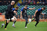 Rhys Priestland of Bath Rugby puts boot to ball. Bath Rugby Captain's Run on October 30, 2015 at the Recreation Ground in Bath, England. Photo by: Patrick Khachfe / Onside Images