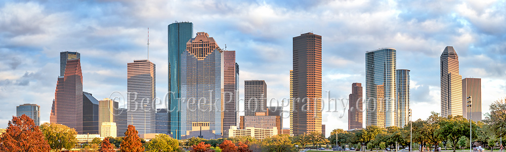 This is another skyline of Houston on a cloudy day in downtown from the park on the Buffalo Bayou.