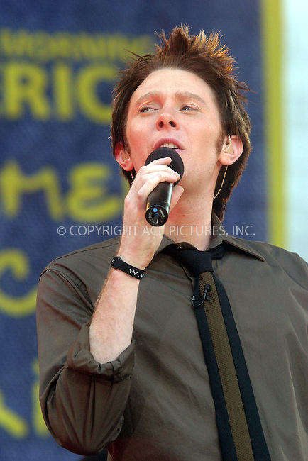 """Clay Aiken performs on """"Good Morning America"""" in New York. July 2, 2004. Please byline: CHLOE RED/ACE Pictures.   .. *** ***  ..All Celebrity Entertainment, Inc:  ..contact: Alecsey Boldeskul (646) 267-6913 ..Philip Vaughan (646) 769-0430..e-mail: info@nyphotopress.com"""