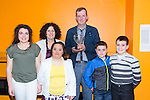Mike McGillicuddy receive the Paudie O'Leary Award for fair play at The Kerry Area Basketball Board annual Awards and Medal presentations at the Kingdom Greyhound Stadium Tralee on  Tuesday. Pictured l-r Shannon O'Leary, Margaret O'Leary, Antoinette O'Leary, Mike McGillicuddy, Ross O'Leary and Paudie O'Leary