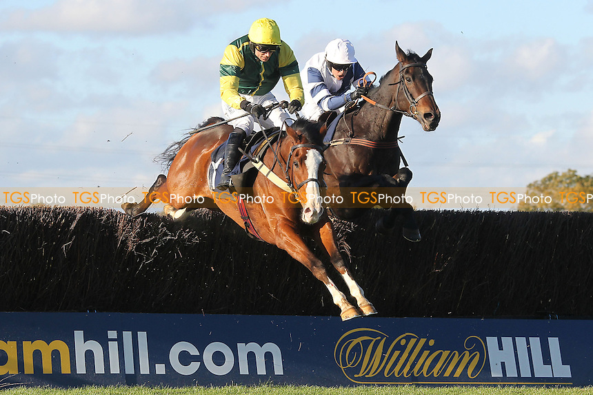 Forgotten Gold ridden by Paddy Brennan jumps the last in the SWI Ltd Electrical Contractors Beginners Chase - Horse Racing at Huntingdon Racecourse, Cambridgeshire - 16/10/12 - MANDATORY CREDIT: Gavin Ellis/TGSPHOTO - Self billing applies where appropriate - 0845 094 6026 - contact@tgsphoto.co.uk - NO UNPAID USE