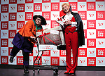 "October 17, 2016, Tokyo, Japan - Comic group ""Maple superalloy"" members, Kazlaser (R) and Ando-natsu attend the promotional event of the Day of good shopping in Tokyo on Monday, October 17, 2016. Yahoo and other 39 retailers will have a large bargain sale on their shopping site and stores on November 11.   (Photo by Yoshio Tsunoda/AFLO) LWX -ytd-"