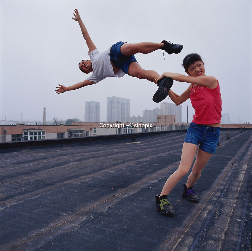 "Li Wei artwork named ""Love at the high place"" in Beijing...PHOTO BY SINOPIX"