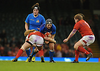 Italy&rsquo;s Lucia Gai is tackled by Wales Beth Lewis <br /> <br /> Photographer Ian Cook/CameraSport<br /> <br /> 2018 Women's Six Nations Championships Round 4 - Wales Women v Italy Women - Sunday 11th March 2018 - Principality Stadium - Cardiff<br /> <br /> World Copyright &copy; 2018 CameraSport. All rights reserved. 43 Linden Ave. Countesthorpe. Leicester. England. LE8 5PG - Tel: +44 (0) 116 277 4147 - admin@camerasport.com - www.camerasport.com