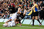 Bath's Leroy Houston upends London Wasps' Joe Simpson - Rugby Union - 2014 / 2015 Aviva Premiership - Wasps vs. Bath - Adams Park Stadium - London - 11/10/2014 - Pic Charlie Forgham-Bailey/Sportimage