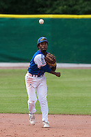 30 july 2010: Felix Brown of Team France throws the ball to the first base during Italy 9-2 win over France, in day 6 of the 2010 European Championship Seniors, at TV Cannstatt ballpark, in Stuttgart, Germany.