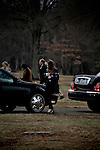 December 21, 2007. Charlotte, NC.. A funeral was held for Cpl. Joshua C. Blaney in Charlotte, NC. Cpl. Blaney died on December 12 from injuries sustained when an IED exploded near his vehicle in Afghanistan. He was 25.. Cpl. Blaney's sister Carley Blaney, carries the flag from her brother's coffin away from the gravesite at the end of the funeral.